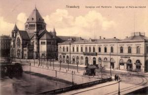Strasbourg la synagogue et l'Ancienne gare en 1900