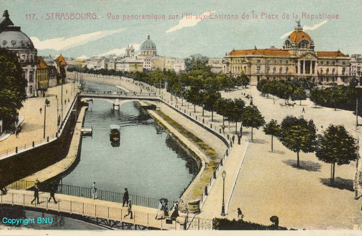 Strasbourg, carte postale 1920 Place république les trois coupoles