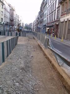 Les travaux de réfection de la rue du Faubourg de pierre en 2010 CP Karim TATAI Strasbourg