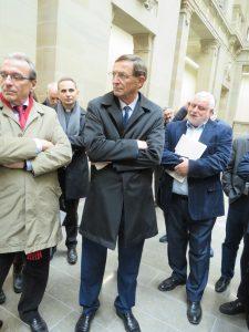 De gauche à Droite, Monsieur Ries, Monsieur le curé de St Pierre le Jeune, Monsieur Herrmann et monsieur Binder,